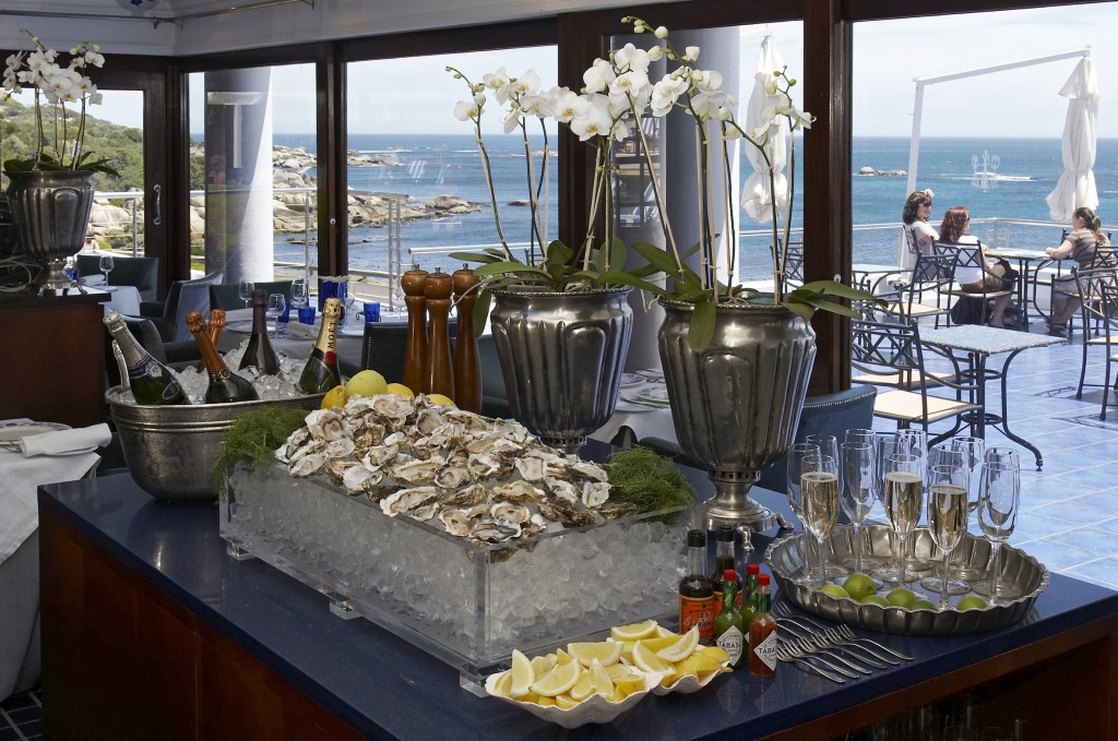 Champagne and Oysters at breakfast at the Twelve Apostles